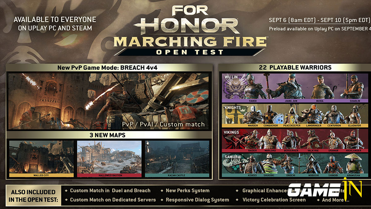 For Honor Marching Fire PC Open Test van 6 tot 10 september Afbeelding 1