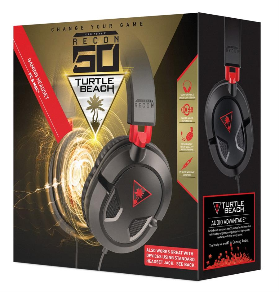 Turtle Beach Ear Force Recon 50 Wired Stereo Gaming Headset Zwart (PC + MAC + PS4 + Xbox One + Mobile) Foto 8