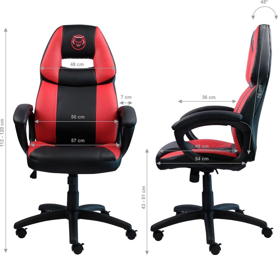 Qware Gaming Stoel Seat Seat Castor Carbon look Rood Foto 4