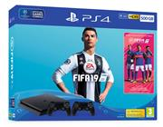 Sony Playstation 4 Console 500 GB (Slim) Zwart Set Pack + Fifa 19 + 2 Controllers
