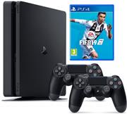 Sony Playstation 4 Console 1 TB (Slim) Zwart Set Pack + Fifa 19 + 2 Controllers