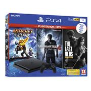 Sony Playstation 4 Console 1 TB (Slim) Zwart Set Pack + Ratchet And Clank + The Last Of Us Remastered + Uncharted 4